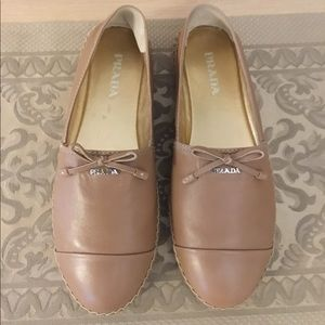Prada Napa Leather Bow Espadrille Natural sz.38